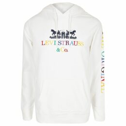 Mens River Island Levi's White embroidered hoodie