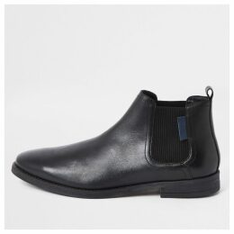 Mens River Island Black leather pointed toe chelsea boots
