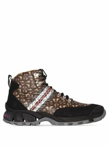 Burberry monogram print hiking boots - Black