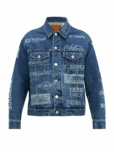 Vetements - Error Print Denim Jacket - Mens - Blue