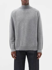 Raey - Loose Fit Funnel Neck Cashmere Sweater - Mens - Grey