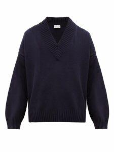 Raey - V Neck Dropped Shoulder Merino Wool Sweater - Mens - Navy