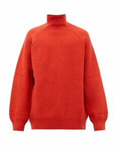 Raey - Funnel Neck Wool Blend Sweater - Mens - Dark Orange