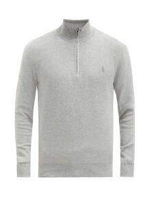 Polo Ralph Lauren - Logo Embroidered Cotton Piqué Zip Neck Sweatshirt - Mens - Grey