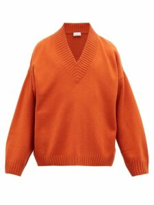 Raey - V Neck Dropped Shoulder Merino Wool Sweater - Mens - Orange