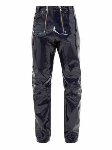 Gmbh - High Waisted Vinyl Trousers - Mens - Navy