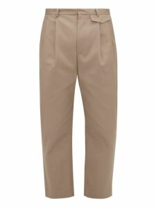 Deveaux - Wyatt Pleated Cropped Technical Gabardine Trousers - Mens - Beige