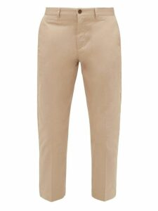 Maison Kitsuné - Cotton Twill Tapered Leg Trousers - Mens - Beige