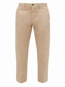 Maison Kitsuné - Cotton Twill Tapered Leg Trousers - Mens - Beige