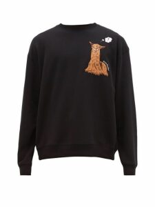 Acne Studios - Forba Llama Embroidered Cotton Jersey Sweatshirt - Mens - Black