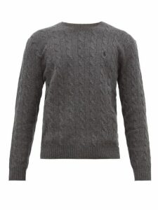 Polo Ralph Lauren - Logo Embroidered Cable Knit Wool Blend Sweater - Mens - Grey