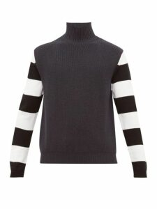 Paul Smith - Striped Sleeve Funnel Neck Wool Sweater - Mens - Grey Multi