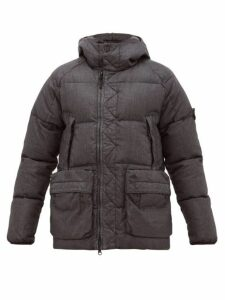 Stone Island - Hooded Quilted Down Coated Linen Jacket - Mens - Black