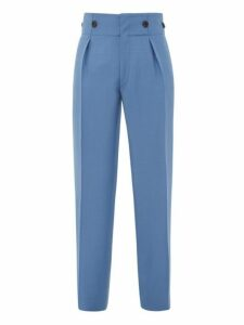 Lanvin - High Rise Mohair Blend Crepe Trousers - Mens - Blue