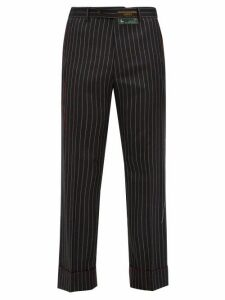 Gucci - Stitched Edge Pinstripe Wool Trousers - Mens - Dark Grey