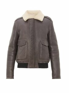 Yves Salomon - Flap Pocket Shearling Aviator Jacket - Mens - Grey Multi