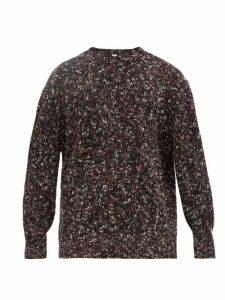 Raey - Crew Neck Tweed Effect Wool Blend Sweater - Mens - Burgundy
