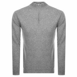 Les Deux Casherino Zip Knit Sweatshirt Grey