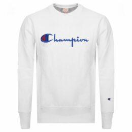 Champion Crew Neck Logo Sweatshirt White