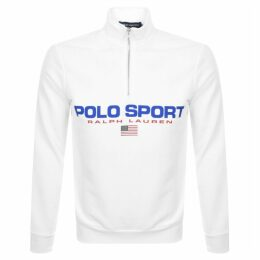 Ralph Lauren Half Zip Logo Sweatshirt White