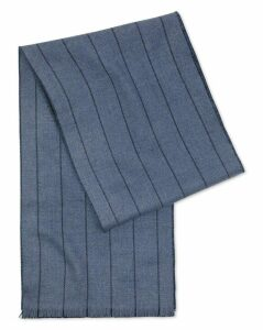 Navy and Blue Stripe Merino Scarf Size OSFA by Charles Tyrwhitt