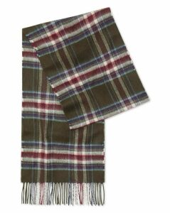 Olive Multi Check Cashmere Scarf Size OSFA by Charles Tyrwhitt