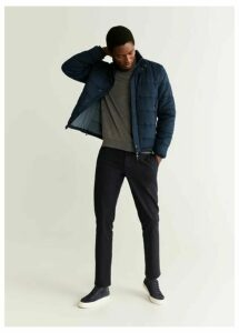 Quilted faux-suede anorak