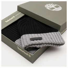 Timberland Ribbed Beanie And Scarf Gift Set For Men In Black Black, Size ONE