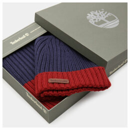 Timberland Ribbed Beanie And Scarf Gift Set For Men In Navy Navy, Size ONE