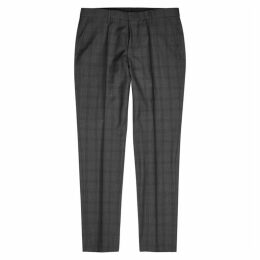 BOSS Grey Checked Wool Trousers