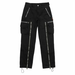 Palm Angels Black Zip-embellished Twill Cargo Trousers