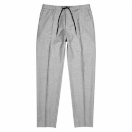 BOSS Light Grey Tapered Wool Trousers