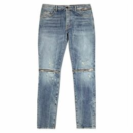 Palm Angels Blue Zip-embellished Skinny Jeans