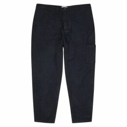 Oliver Spencer Navy Houndstooth Wool Trousers