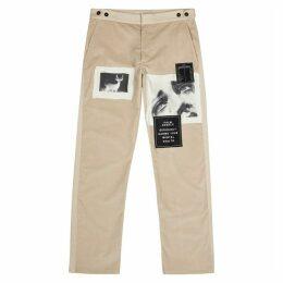 Palm Angels Stone Appliquéd Corduroy Trousers