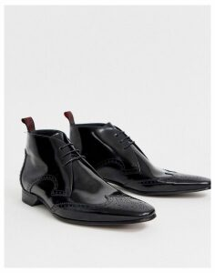 Jeffery West Escobar brown boot in black high shine leather