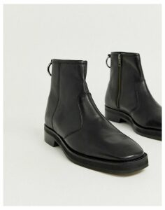 ASOS DESIGN chelsea boots in black leather with square toe and chunky sole