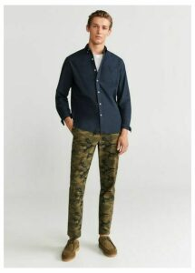 Regular fit camo-print trousers