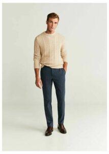 Slim fit silk wool trousers