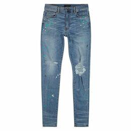 Amiri Blue Distressed Skinny Jeans