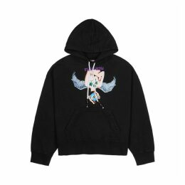 Palm Angels Black Printed Cotton Sweatshirt