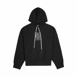 Palm Angels Black Hooded Cotton-jersey Sweatshirt