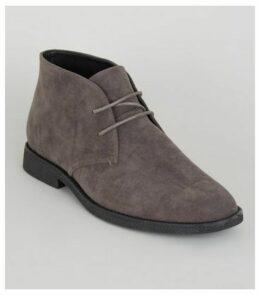 Pale Grey Suedette Desert Boots New Look