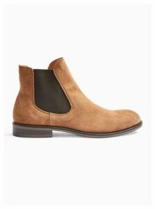 Mens Brown Selected Homme Tan Suede Louis Suede Chelsea Boots, Brown