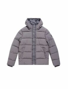 Mens Grey Midweight Hooded Puffer Jacket, Grey