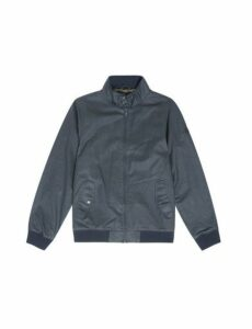 Mens Navy Wax Look Harrington Jacket, Blue