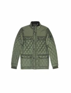 Mens Khaki Diamond Quilted Jacket, Green