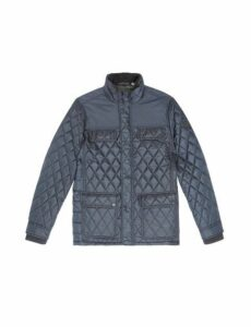 Mens Navy Diamond Quilted Jacket, Blue