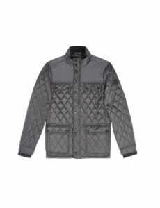 Mens Charcoal Diamond Quilted Jacket, Grey