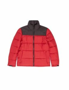 Mens Red Colourblock Puffer Jacket, RED